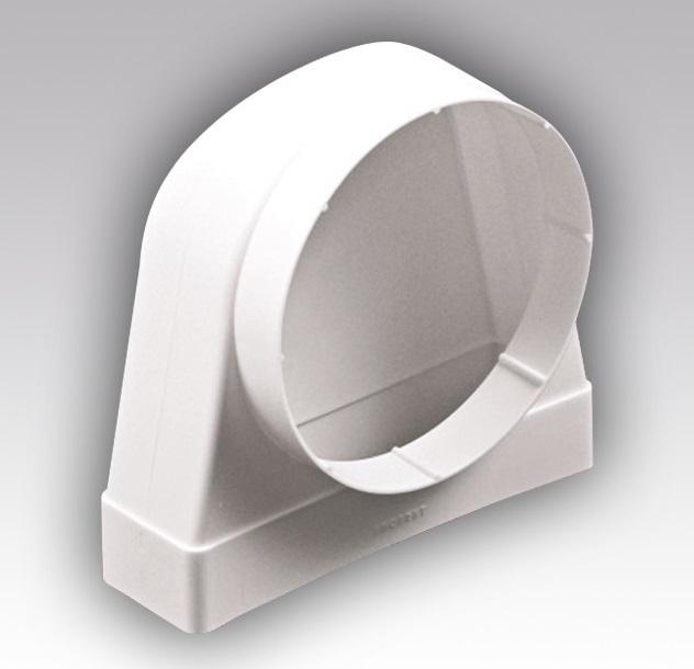 620СК10КП Эра, Соединитель угловой 90°, плоского воздуховода с круглым пластик, 60х204/D100