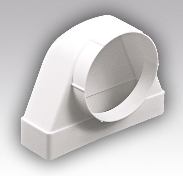 620СК16ФП Эра, Соединитель угловой 90° пластик, плоск. воздух-да с фланц. воздухораспред.60х204/D160